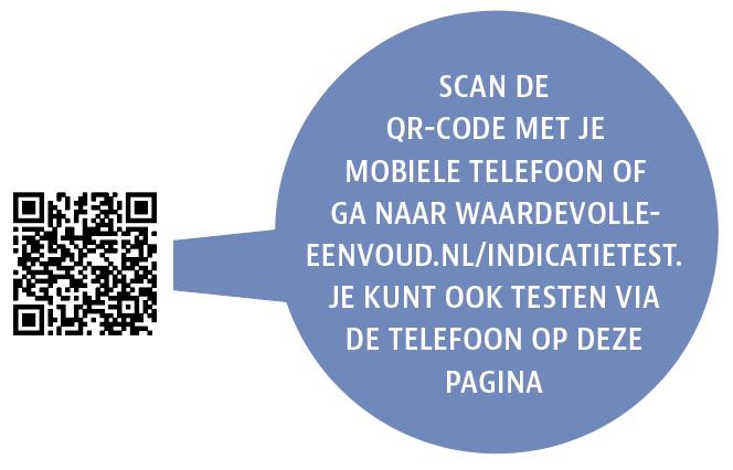 QR-code die verwijst naar de online indicatietest Waardevolle Eenvoud