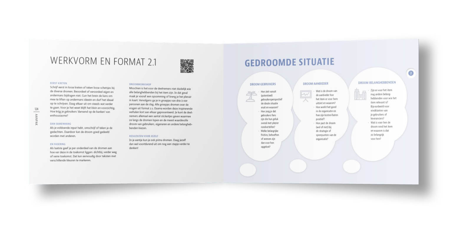 Spread uit het boek Waardevolle Eenvoud met een voorbeeld van een werkvorm