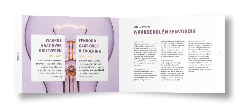 Voorbeeld spread boek Waardevolle Eenvoud met uitleg model